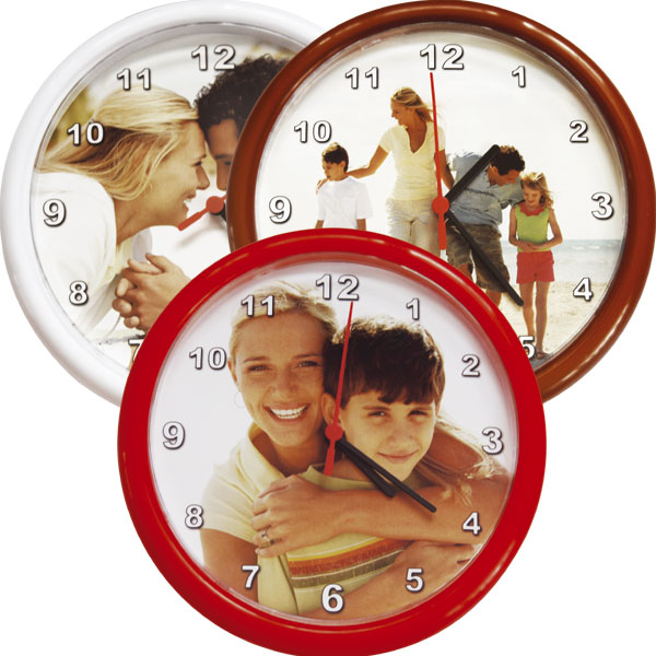 MCprint.eu - Photogift: Photo clocks plastic - red, brown or white