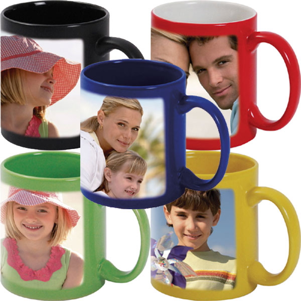 MCprint.eu - Photogift: Photo mug couloured - black, red, blue, green and yellow