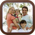 MCprint.eu - Photogift: Photo clock square brown