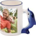 Mug with a dolphin-shaped handle - 1x print for a right-hander, a gift for girls
