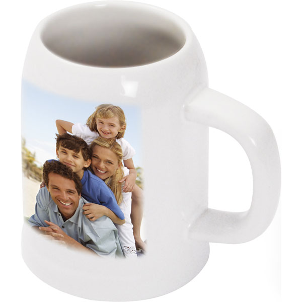 White beer mug - 1x print for a right-hander, a gift idea with a personal photo