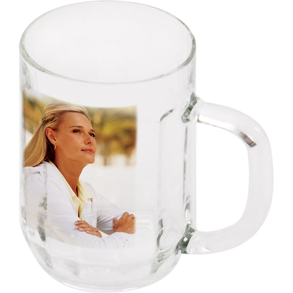 Glass beer mug - 1x print for a right-hander, a gift idea from a photo for men