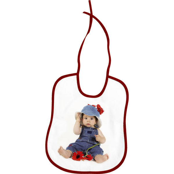 Bib - a red hem, a cute gift for a baby with a personal photo for pleasure