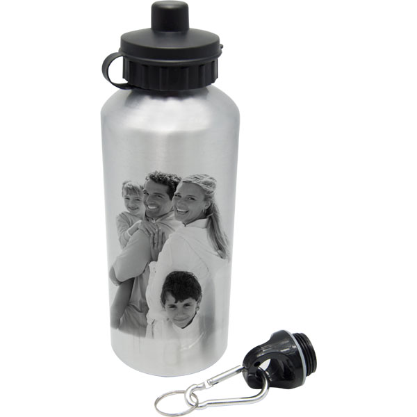 Bottle silver - 1x print, a practical gift with a photo for a cyclist