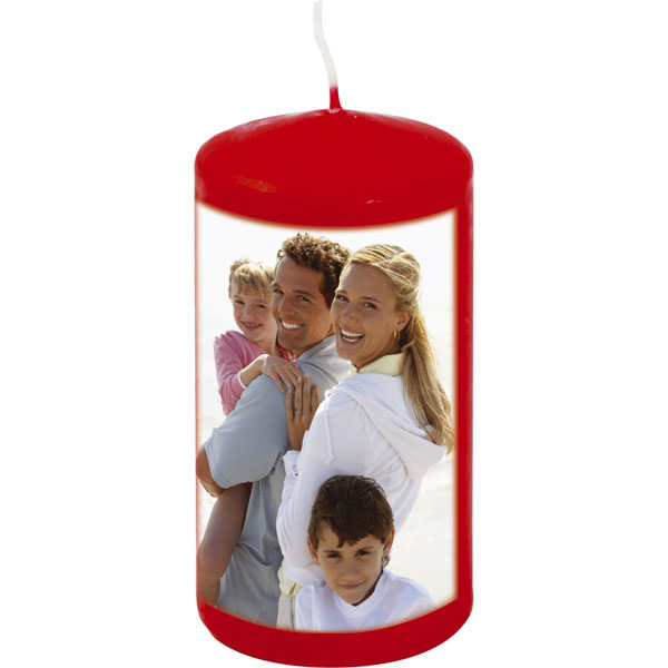 Candle - red colour, gift with a photo of grandchildren for your granny