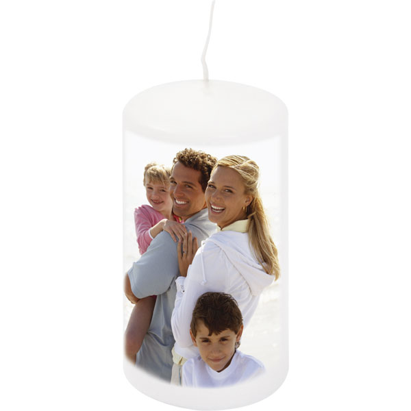 Candle - white colour, an unusual gift idea with printing for your grandparents