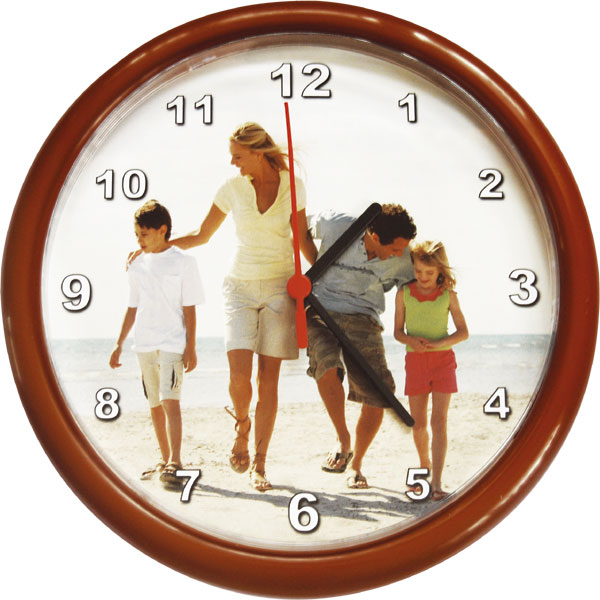 Circle clocks - brown, an original gift with personal printing for employees