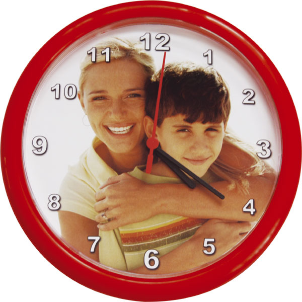 Circle clocks - red, a nice name day gift from a personal photo for your sister