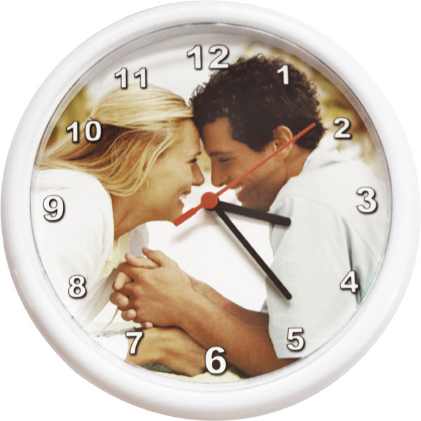 Circle clocks - white, a great birthday gift from digital photos for parents