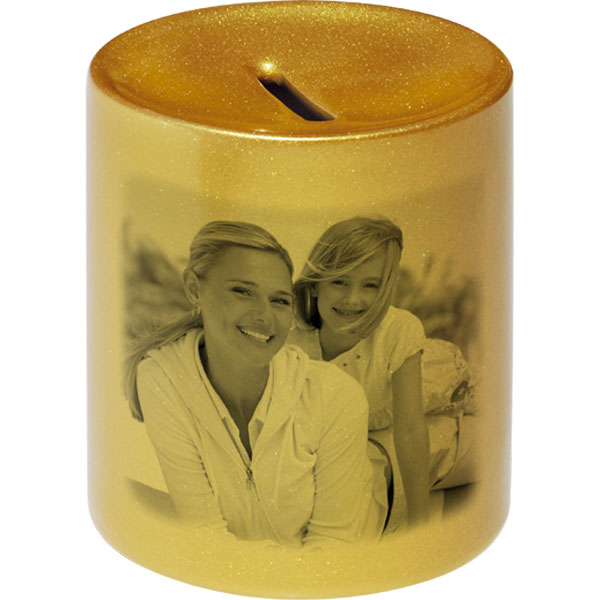 Money box gold for metal coins - 1x print, a gift for children for pocket money