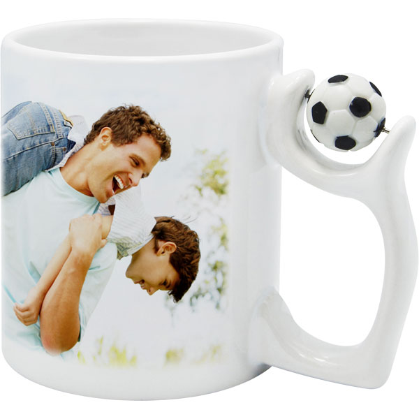Mug with a ball - 1x print for a right-hander, a birthday gift for a footballe