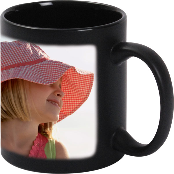 Black mug - 1x print for a right-hander, gift from a photo for your friend