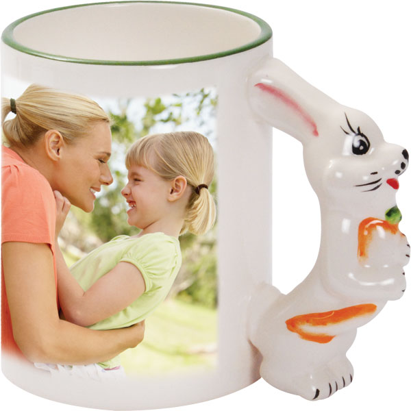 Mug with a bunny-shaped handle - 1x print for a right-hander, an Easter gift