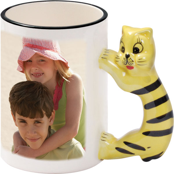 Mug with a cat-shaped handle - 1x print for a right-hander, a gift from photo