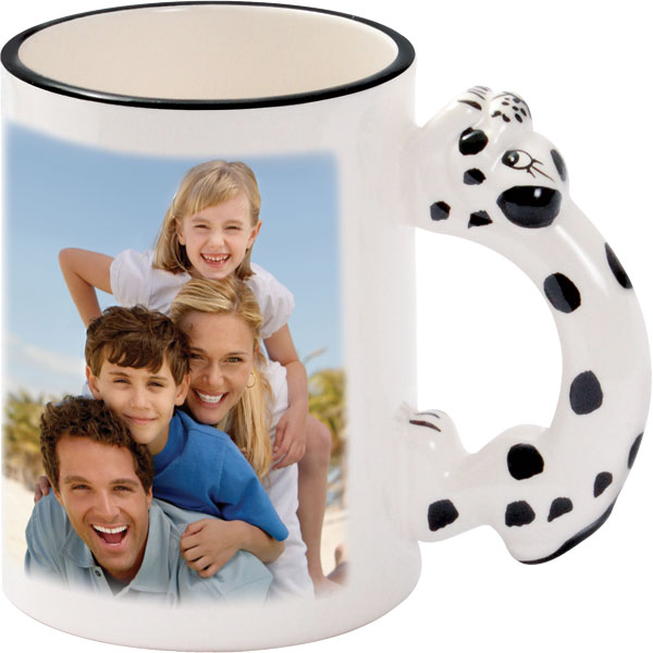 Mug with a dalmatian-shaped handle - 1x print for a right-hander, as gift