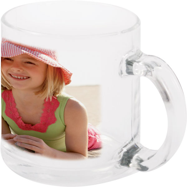 Clear glass mug - 1x print for a right-hander, a photo gift for newlyweds