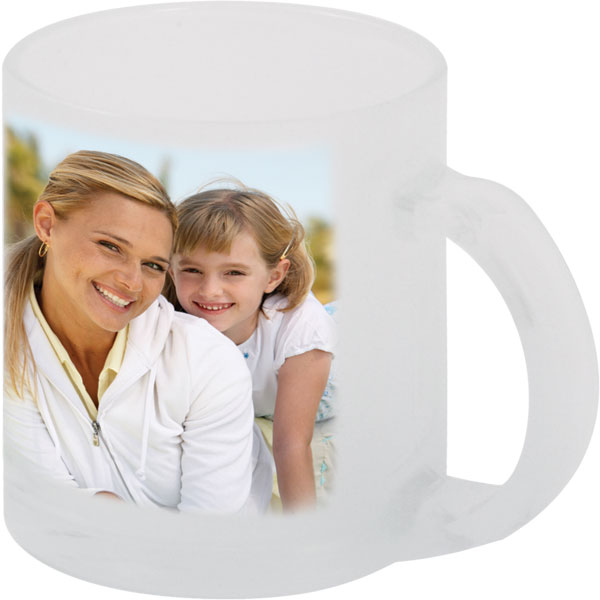 Frosted glass mug - 1x print for a right-hander, gift with a picture for sister