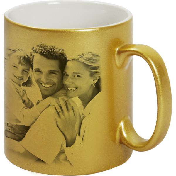 Metallized gold mug - 1x print for a right-hander, a gift for parens