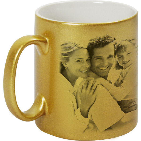 Metallized gold mug - 1x print for a left-hander, a mug from a photo as a gift