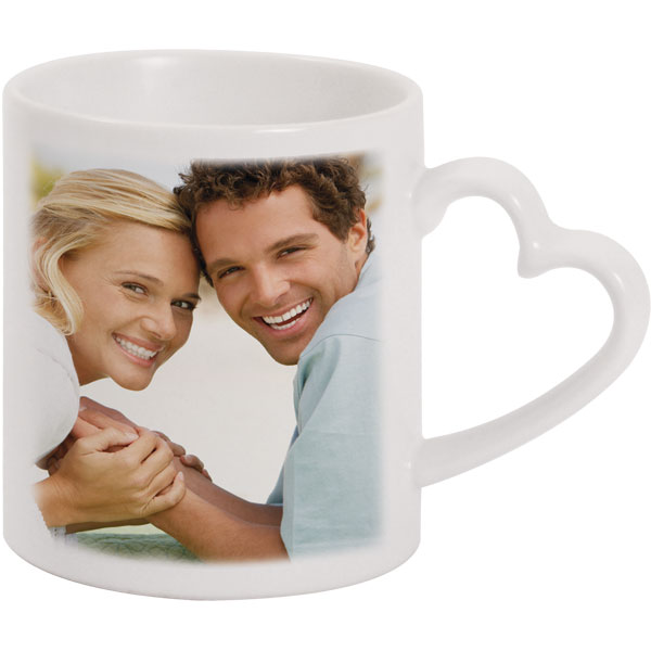 Heart mug - 1x print for a right-hander, a photo gift with printing for wife