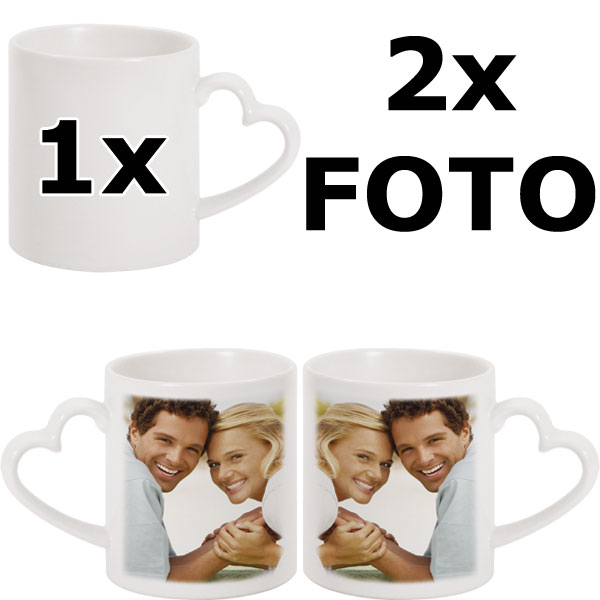 Heart mug - 2x prints (a photo on the right and on the left from the mug handle)