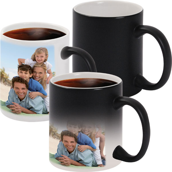 Black MAGIC mug - 1x print for a right-hander, a photo gift for your uncle