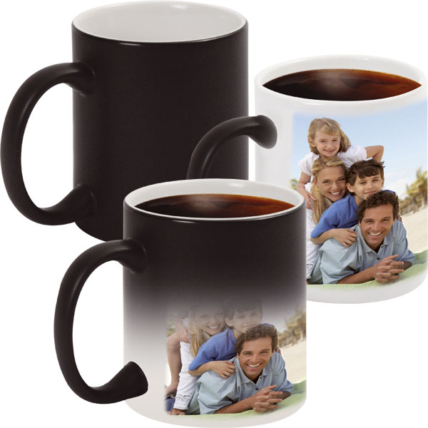 Black MAGIC mug - 1x print for a left-hander, a gift with personal printing