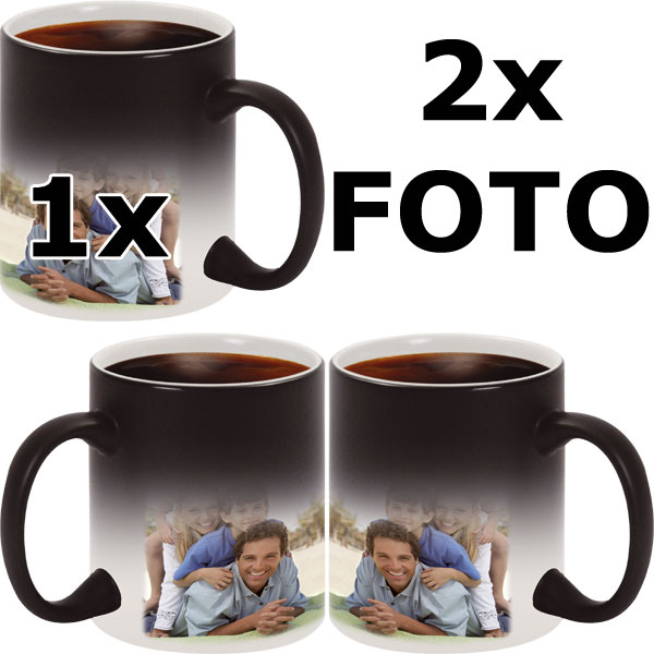 Black MAGIC mug - 2x prints (on the right and on the left from the mug handle)