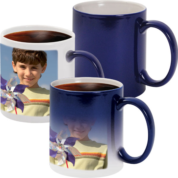 Blue MAGIC mug - 1x print for a right-hander, a magic gift for your grandpa