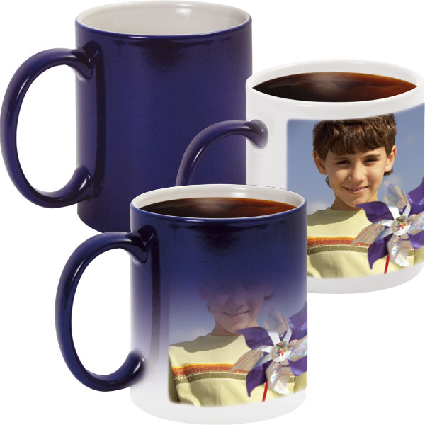 Blue MAGIC mug - 1x print for a left-hander, mug from a photo for your granny