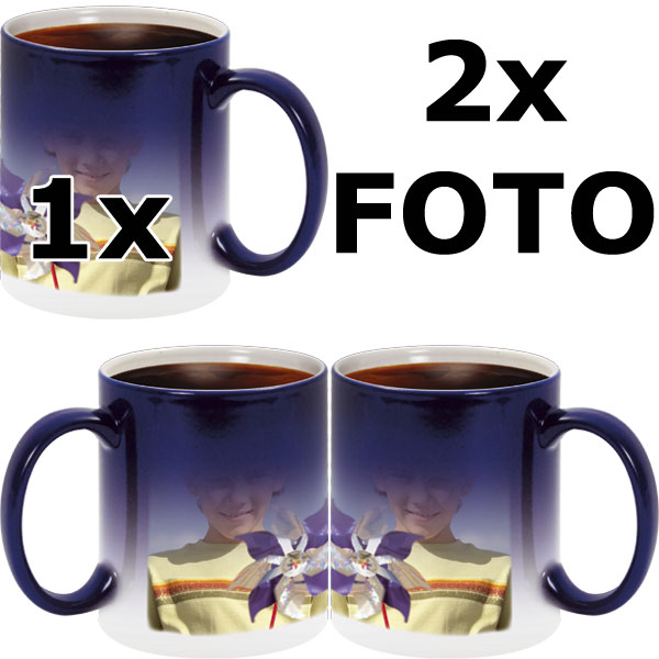 Blue MAGIC mug - 2x prints (on the right and on the left from the mug handle)