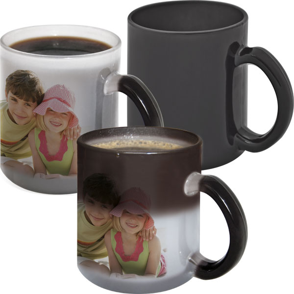 Black glass MAGIC mug - 1x print for a right-hander, a gift for your daddy