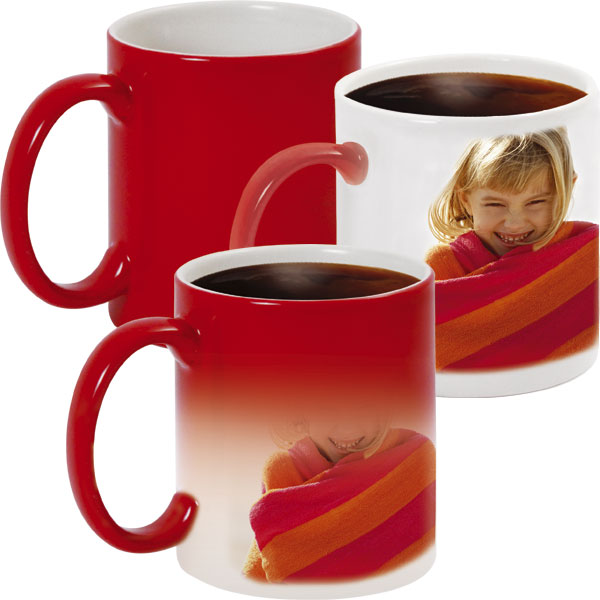 Red MAGIC mug - 1x print for a left-hander, a gift from photo for your partner