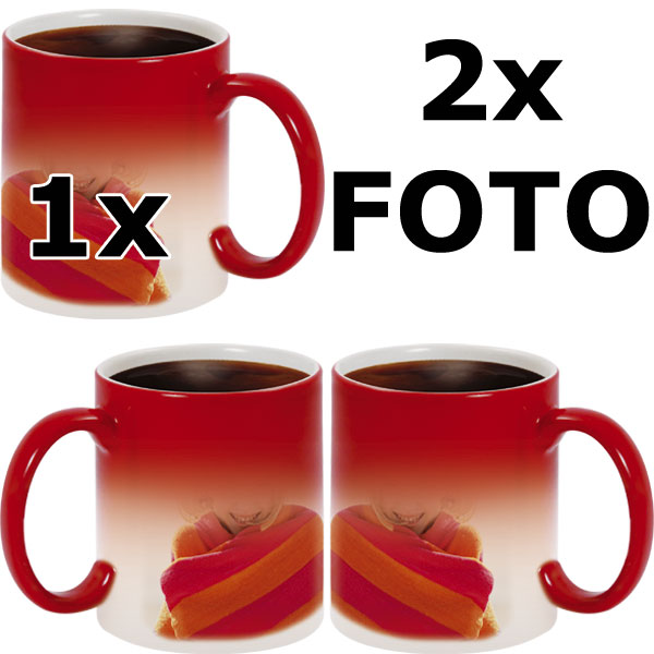Red MAGIC mug - 2x prints (a photo on the right and on the left from the handle)