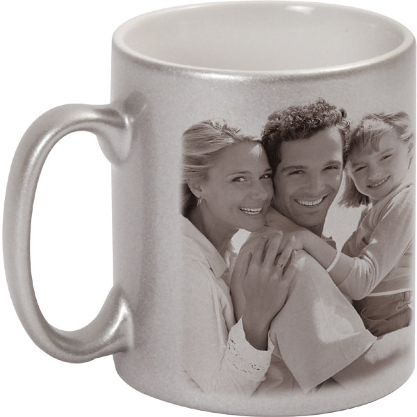 Metallized silver mug - 1x print for a left-hander, a photo gift for your aunt
