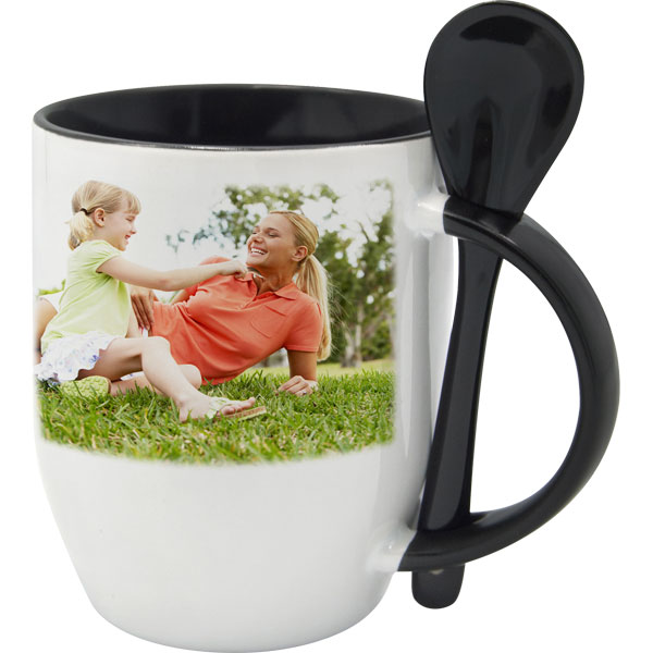 White mug with black interior and a spoon - 1x print, a mug with for daddy