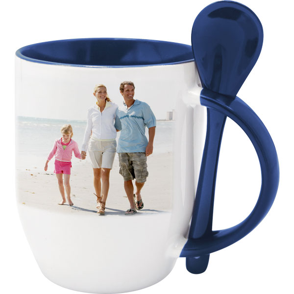 White mug with blue interior and a spoon - 1x print, a gift for doctors