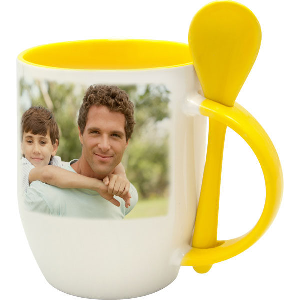 White mug with yellow interior and a spoon - 1x print, a gift Women's Day