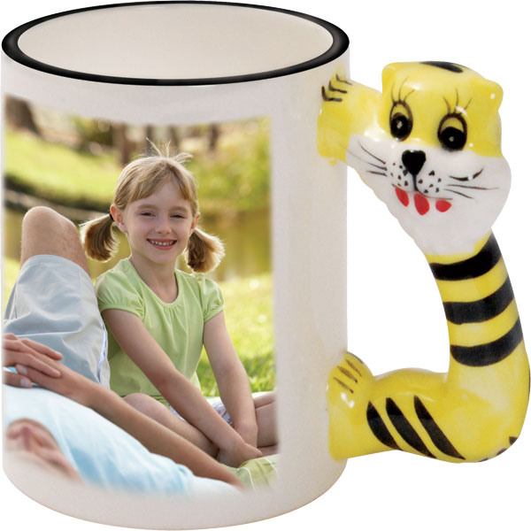 Mug with a tiger-shaped handle - 1x print for a right-hander, a gift for a boy