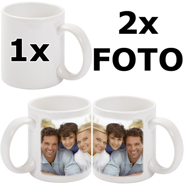 White mug - 2x prints (a photo on the right and on the left from the mug handle)