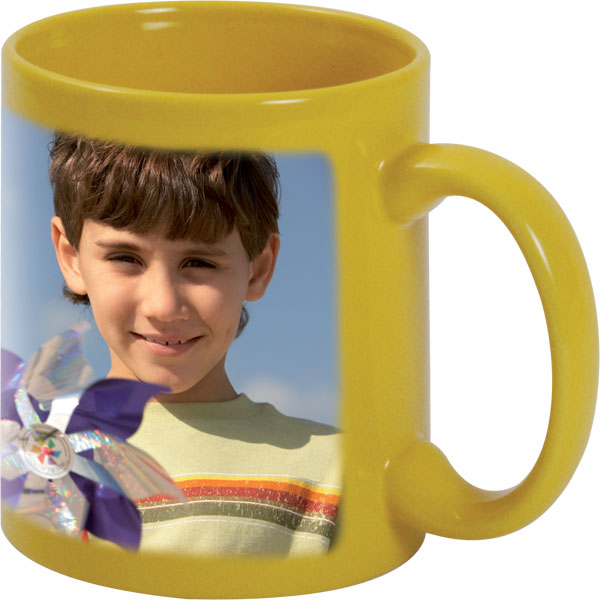 Yellow mug - 1x print for a right-hander, a great gift for your girlfriend