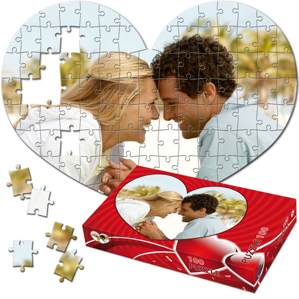 100 Piece Puzzle 16 x 11 in - with a gift box in shaped heart