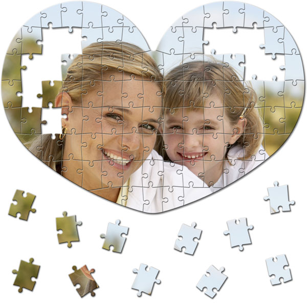 100 Piece Puzzle 16 x 11 in - Valentine´s Day gift in the shape of a heart