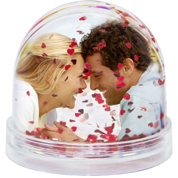 Heart snow globe - 2x prints, a birthday gift with a photo for your girlfriend