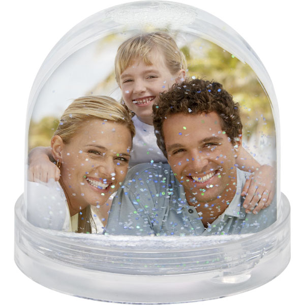 Silver snow globe - 2x prints, a gift for a bridegroom with a photo of his bride