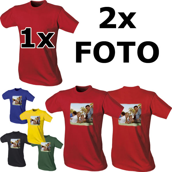 Coloured T-shirt - 2x prints, a special photo gift from a digital pattern