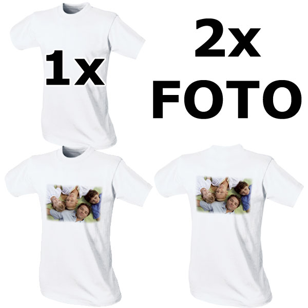White child's T-shirt - 2x prints, keepsakes from photos for classmates